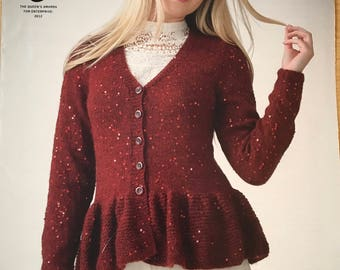Frill Trimmed Cardigan and Top Knitting Pattern, King Cole Knitting Pattern, Ladies Frill Cardigan, Ladies Frill Top, King Cole No. 3871