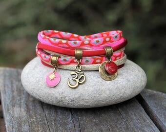 Bohemian Indian bracelet red neon pink _ _ ohm / aum _ bollywood Gypsy boho