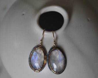 Rainbow Moonstone 14K Gold and Black Silver Earrings