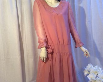 Romantic oldpink lace dress, homesewn, 20s lookalike