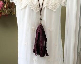 Sari Silk Tassel Necklace/Maroon Sari Tassel/Long Tassel Necklace/Boho Necklace/Romantic Necklace/Aggie Necklace/Gameday Necklace