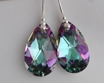 Swarovski earrings, pear shaped earrings, vitrail light earrings
