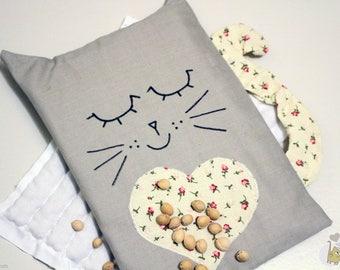 Bouillotte sèche en forme de chat aux noyaux de cerises
