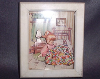 Mid Century Paper Diorama Picture in Glass & White Wood Frame, Child Praying