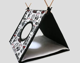 Cat house limited edition Modern cat furniture from felt and design cotton fabric