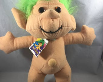Vintage 1990s Soft Bodied Trollkins With Green Hair