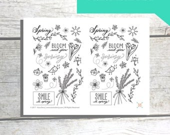 PRINTABLE Spring Doodles Planner Stickers
