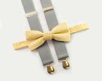 boys wedding outfit, yellow polka dots bow tie & light gray suspenders, ring bearer outfit