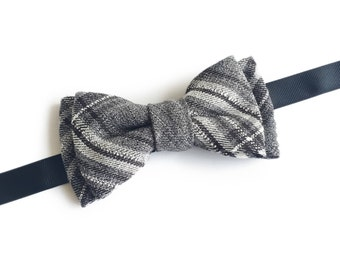 "Plaid Grey Pre Tied Bow Tie ""Roosevelt"", Best Handmade Gift For Men, Weddings, Birthday, Valentines Day"