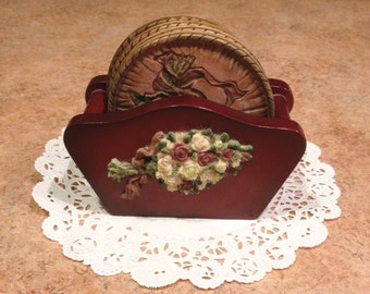 Victorian Style Coasters And Caddy Vintage Set 3D Drink Coaster Etch Floral Pattern Embossed Roses Faux Wood Carrier Home Living Decor