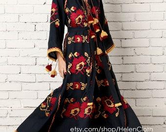 Vyshyvanka Dress Embroidered Maxi Linen Dress Ethnic style Long Dress Traditional Kaftan Mexican maxi Tunic Sarafan Free shipping