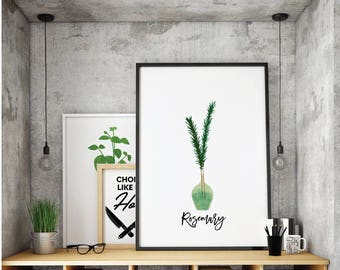 RoseRosemary Printable. Kitchen Art. Herbs Kitchen Decor. Natural Kitchen Art. Kitchen Printable. Herbs. Kitchen Decor. Spice Print.