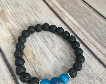 15% OFF SALE /// Essential Oil Diffuser Bracelet, Lava Bead, Blue Agate