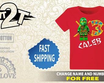 LEGO Ninjago Custom  Birthday T-Shirt, Custom Name and Number