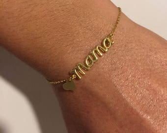 Mama Bracelet, Gold Mama Bracelet, Mother's Bracelet, Mother's Day Gift Bracelet, Bracelet for Mother, Made from Sterling Silver 925.