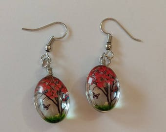 glass cabochon, orange flowers inlaid earrings