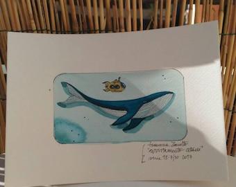 Whale Original illustration-animal print-watercolor-vintage submarine-fine art print-wallpaper-wall art-15x21