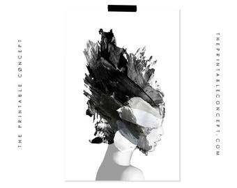 Freyja  ART PRINT | Woman Abstract Art Digital Collage Poster | Black white Woman painting Photography | Mixed media modern art print