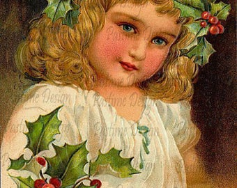 Vintage Christmas postcard,Vintage Christmas image,Instant download,Christmas card,little girl with holly image,cardmaking