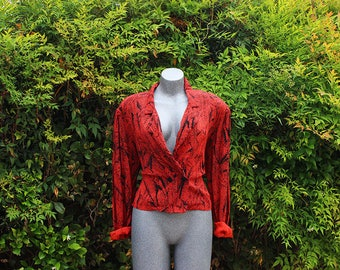 Womens Vintage Blouse Blazer, Orange & Black Blossom Rosen, 1980s 1990s, Made in the USA, Size Large
