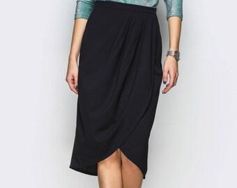 Black skirt draped Women skirt office Spring skirt women Midi skirt folds Flowing skirt black plus size everyday Asymmetric draped skirt