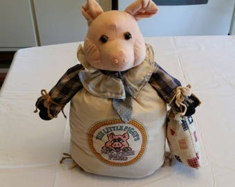 """large vintage stuffed pig doll 16"""" tall feed bag sack clothe w/ tie and plaid shirt - figure farm animal kitchen sow boar doorstop piggy"""
