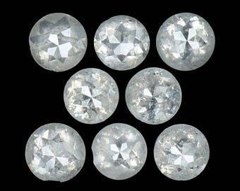 1.04 Ct Natural Loose Diamond Round Rose Cut White Grey Color 8 Pcs N3420