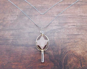 Geometric Triple Crystal Necklace