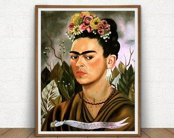Frida Kahlo Art Printable, Frida Kahlo Self Portrait Poster, Art Reproduction, Boho Decor, Cottage Art, Frida Kahlo Prints, Digital Download