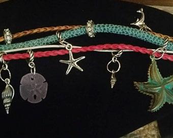 0252-Leather Seaside Charm Bracelet