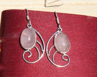 Indians ethnics earrings in silver 925 and pink quartz: semi precious stone.