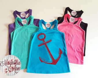 Anchor, Toddler, Little Girls Racerback Tank Top in 6 Colors in Sizes 6 Months - Little Girls Size 6X