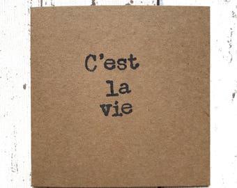 SALE, C'est la vie, quote card, best friend card, motivational quote card, friend card, french quote card, that's life card