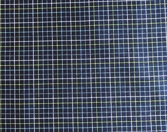 Dark Blue grid pattern in quilting cotton beautiful 1 inch plaid