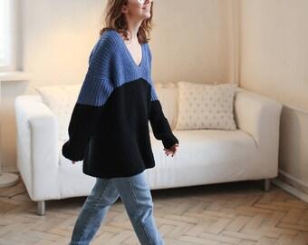 Knit sweater oversized sweater long sweater loose knit sweater chunky sweater wool sweater pullover jumper women slouchy sweater knitted