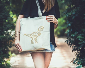Tote Bag screen print - dinosaur - T - rex