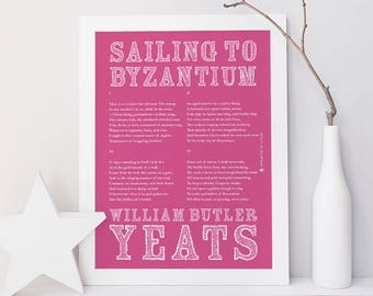 WB Yeats Art Print, Yeats Print, Sailing to Byzantium, Irish Poetry, Irish Art, Poetry Art, Irish Print, Wall Art, Type Poster, Wall Decor
