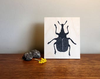 Limited Edition Screen Print on Birch Panel : Beetle