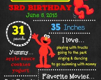 Sesame Street Birthday Chalkboard Poster - Elmo Wall Art design - Birthday Poster Sign - Any Age