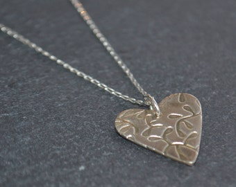Mothers day Handmade silver necklace, Silver heart necklace, heart necklace, mothers day gift, bridesmaids gifts, wedding jewellery