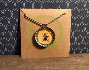 Cute Bee Bottle Cap Necklace