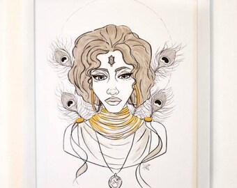 Goddess Oshun Inktober Print Gold Embellished