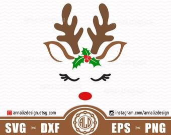 Reindeer svg, Reindeer face svg, Christmas reindeer svg, Deer svg, Reindeer head svg, Reindeer svg files, Deer Mistletoe svg, Rudolph Svg