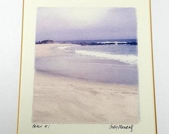 SEASHORE BEACH ART Framed Landscape Print Small Signed Art Print Coastal Wall Decor 9x10 Vintage Photo Art