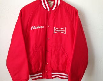 Vintage Red Nylon Budweiser Quilted Work Jacket - Size Medium - Made in USA