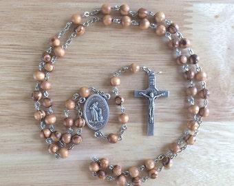 Handmade Catholic Rosary: St. Francis with Bethlehem Olive Wood Beads
