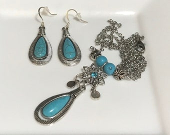 Turquoise and Silver Handmade Beaded Necklace and Earring Set