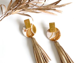 Leather Tassel Earrings, Polymer Clay Earrings, Gold Marble Earrings, Statement Earrings.