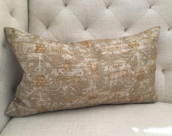 """Zak & Fox Khotan Pillow Cover in Khaki, Gold and White, 16"""" x 20"""""""