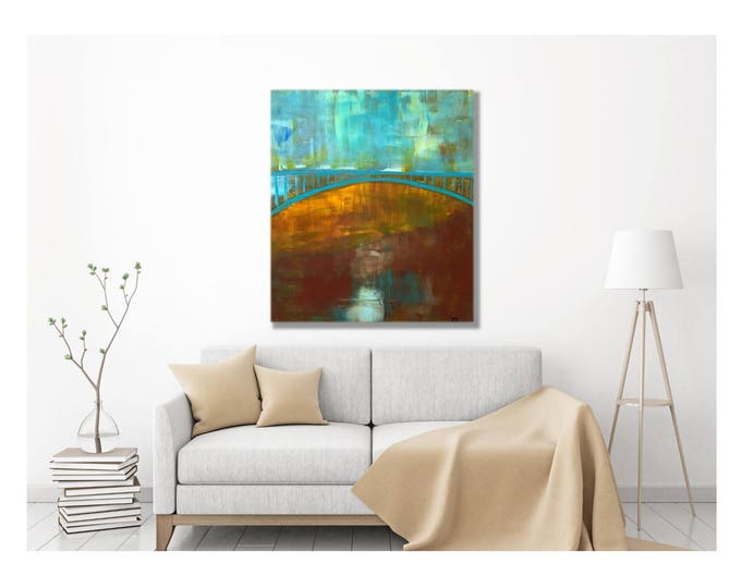 Impressionist Bridge Painting -- Original Art, Rural Bridges of Seattle and Portland, Old Country Bridges, Copper Turquoise, Home Decor, Art